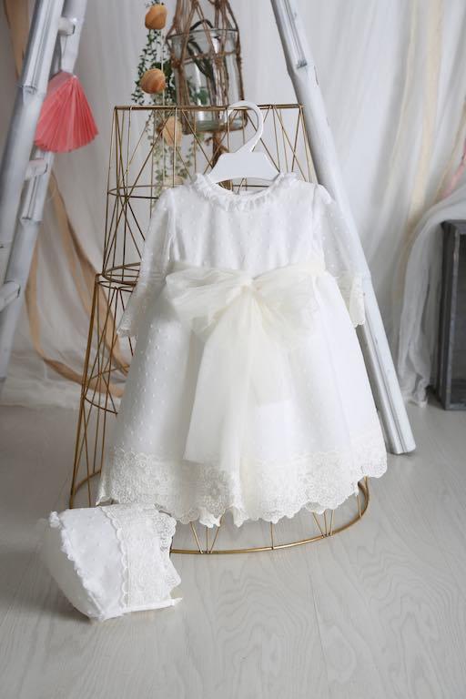 Vestido de Bautizo Plumeti con Organza y Capota 34407
