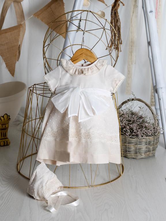 Vestido de Bautizo Lino con Organza de Plumeti y Capota 34417